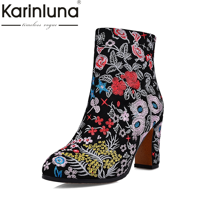 KARINLUNA Ethnic Style Flowers Embroidery Cow Suede Genuine Leather Large Size 34-43 Women Shoes Sexy High Heels Ankle Boots a three dimensional embroidery of flowers trees and fruits chinese embroidery handmade art design book
