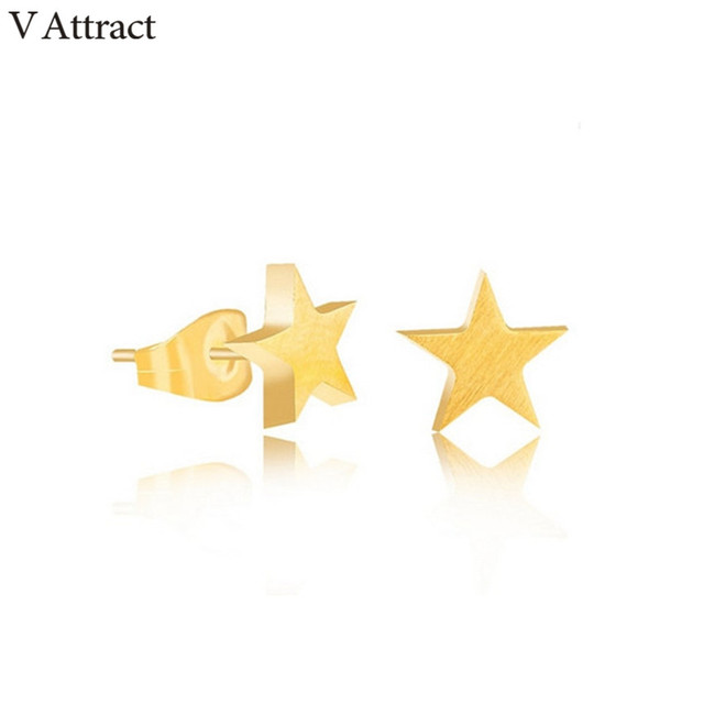 f21f51552192 V Attract Gold Color Tiny Star Stud Earring 2018 Minimalist Jewelry  Stainless Steel Gold Silver Punk Pendientes Bijoux Femme