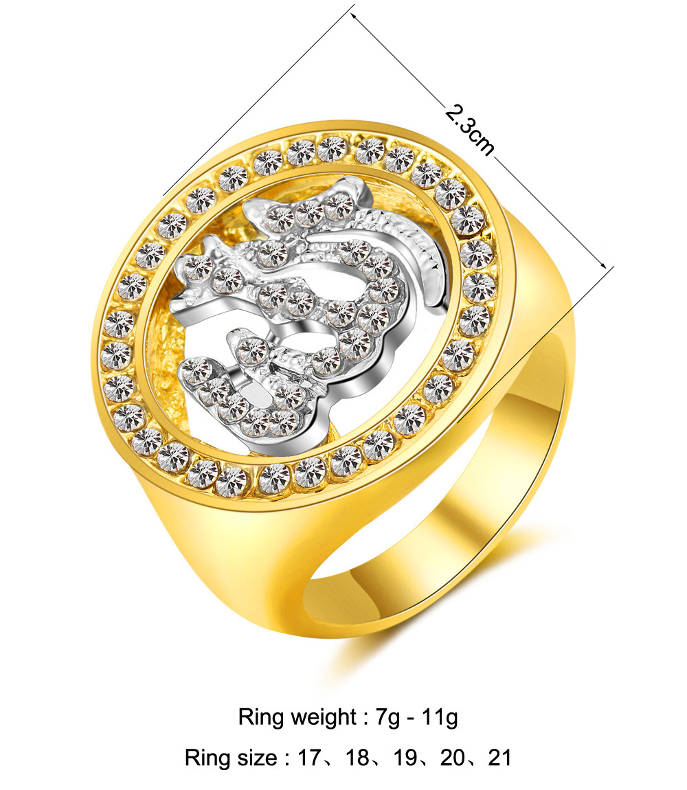 Religious Jewellery for Middle East Arab Muslim Islam Allah Ring Women's Rhinestone Ring Gift