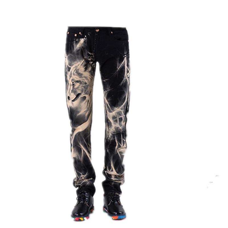16 personality Wolf pattern jeans mens fashion printing straight hair stylist nightclub non-mainstream pants pants black flower