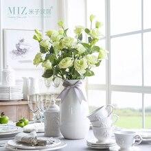 Миз дома 5 шт. 1 бутон eustoma свадебный цветок бутон цветка для невесты Домашний Декор Искусственный цветок Шелковый цветок без ваза