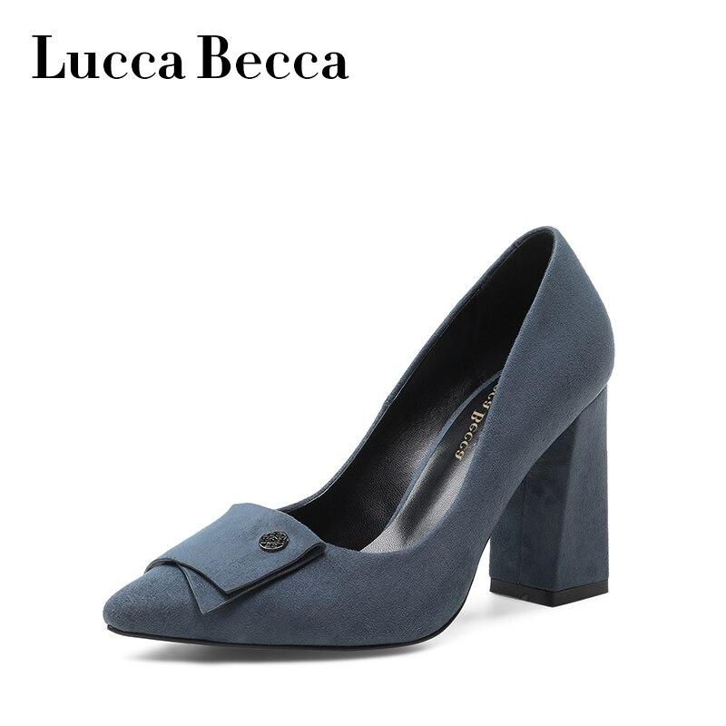Lucca высокой ботинки на каблуках женская обувь из замши zapatos mujer сезон: весна–лето слипоны женская одежда свадебные туфли sapato feminino