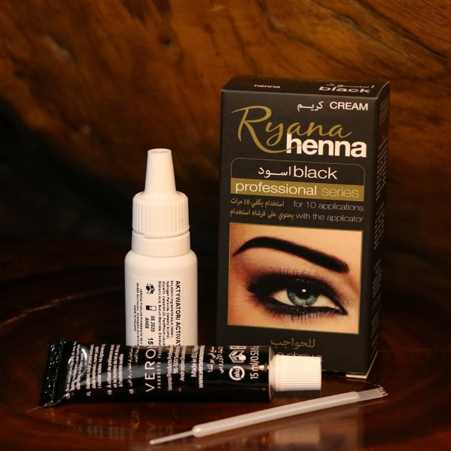 Ryana Henna Natural Eyebrow Eyelash Professional Color Tint Cream Kit, 15-minute Fast Tint Brown & Black Available easy dye 2
