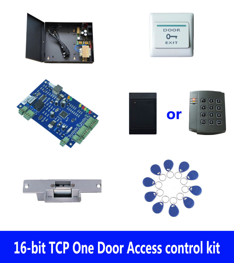RFID card door access control kit,TCP one door access control+powercase+strike lock +ID reader+exit button+10 ID tags,sn:kit-B01 rfid door access control system kit set with electric lock power supply doorbell door exit button 10 keys id card reader keypad