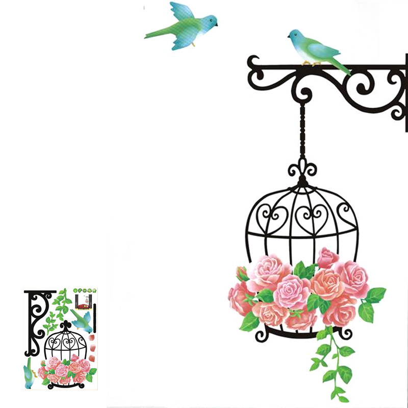 Bird Cage Wall Stickers Wall Art Designs Living Room Wall