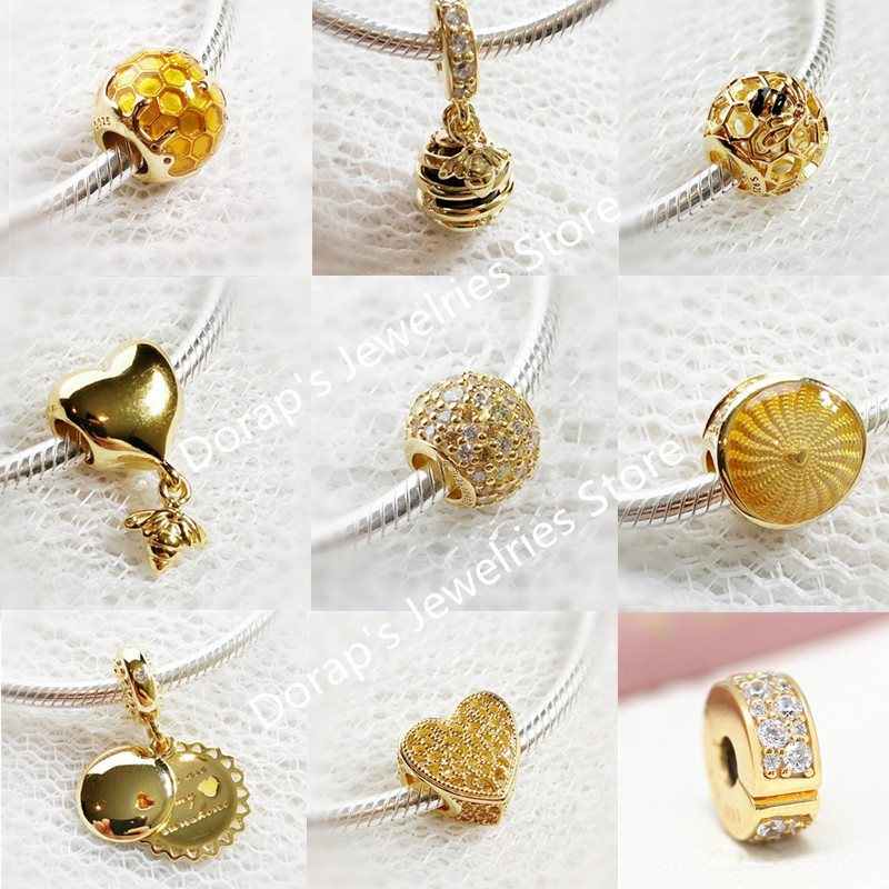 Perfect logo Charms Engraved S925 Silver Beads Heart & Bee charms Honeybee shine pandoras bead golds Bracelet making jewelry