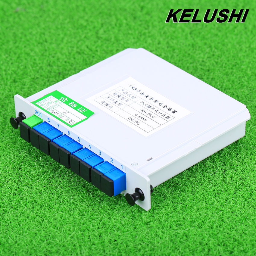 KELUSHI Fiber Branching Device 1x8 Box Cassette Card Inserting PLC splitter Module SC Connector Fiber Optical