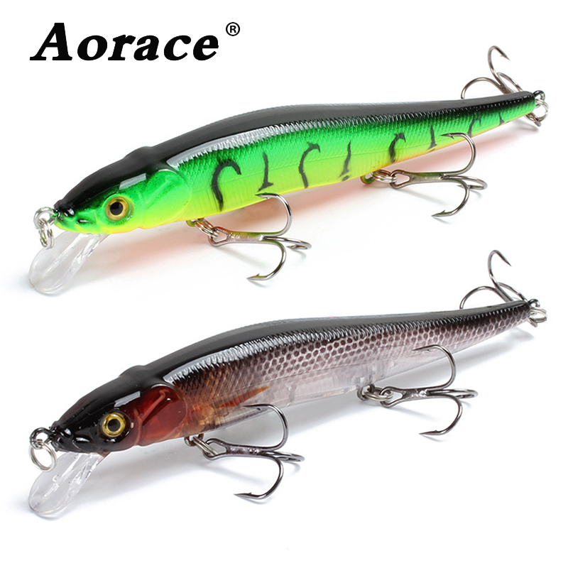 Minnow Fishing Lure 11.5cm 13.9g Floating Artificial Hard Bait Bass Wobbler Lures Crankbait Pike Treble Hooks Tackle