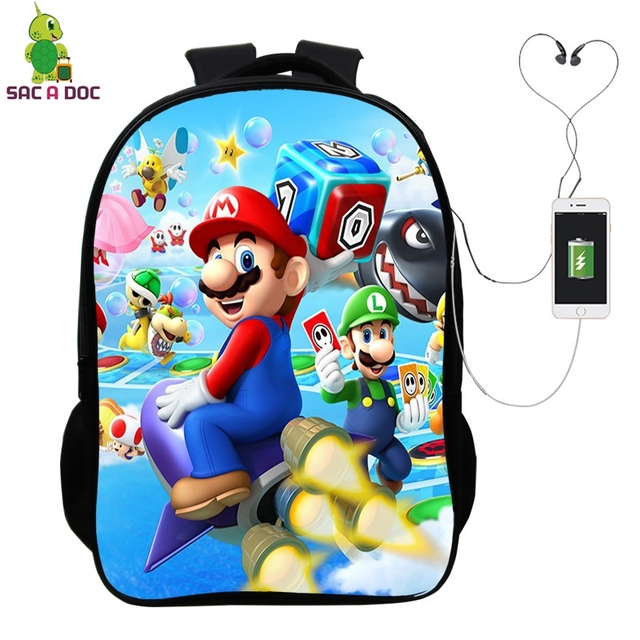704e5c1044ac Super Mario Backpack with USB Charge Headphone Jack Laptop Backpack School  Bag for Teenagers Boys Girls