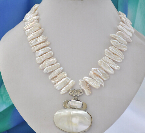 ddh002959 25mm white biwa dens freshwater pearl necklace mabe pendant 17inch