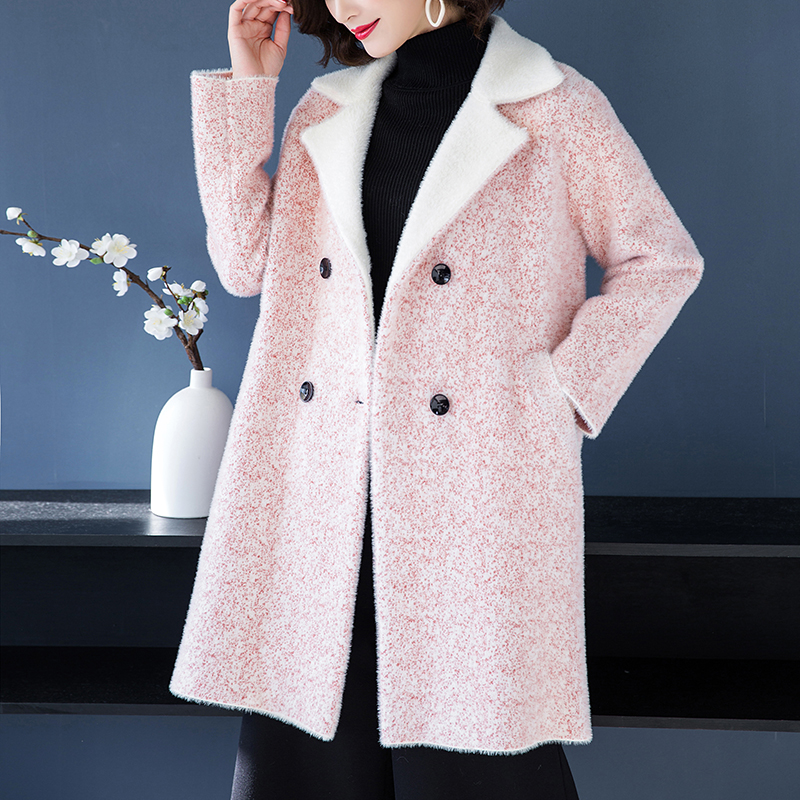 2018 mink fur coat embellished shirt jacket mink jacket women's mink coat women's slim jacket ladies winter warm jacket
