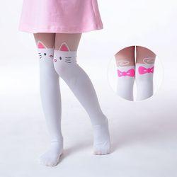 Летние детские тонкие колготки для маленьких девочек, бархатные колготки до колена с имитацией татуировки, белые От 3 до 9 лет с рисунком кот...