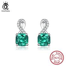 ORSA JEWELS Silver 925 Stud Earrings For Women Green Stone Emerald Fashion Silver Small Earring Wedding Jewelry Gift 2019 OVSE15 orsa jewels 100