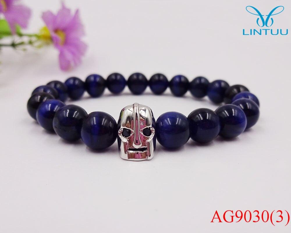 2016 Blue tiger Stone Bead Bracelets for Women Men Black Bracelet Femme Stone Jewelry Pulseras Mujer of Sparta Skull bracelets