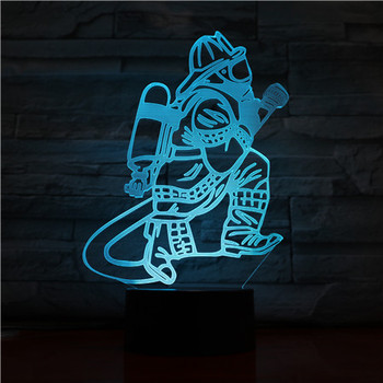 Novelty Fireman Table Lamp 3D LED USB Touch Button 7 Color Changing Fire Fighter Night Light Bedside Decor Light Fixture Gifts фото