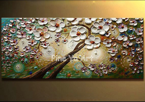 Big piece abstract modern canvas wall art white handpainted textured