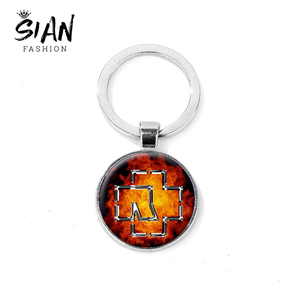 SIAN Fashion Rammstein Keychain Music Band Logo Printed Glass Dome Alloy Key Chain Hipster Rock Hip Hop Key Ring Women Men Gifts