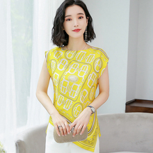 Korean Fashion Silk Women Blouses Satin Print Slee
