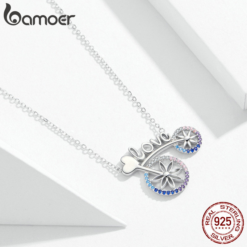 Image 2 - bamoer Romantic Love Bicycle Bike Necklace for Women Valentine's Gift 925 Sterling Silver Chain Short Necklaces Jewelry SCN336-in Pendant Necklaces from Jewelry & Accessories