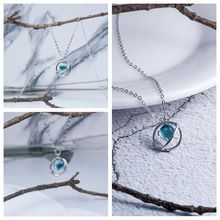 S925 Silver Planet Necklace Universe Blue Star Crystal Pendant For Women Girl Jewelry Findings