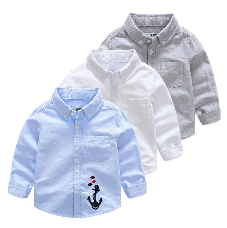 Shirt Children Clothing Autumn Baby Kids Boy Cotton Anchor Fashion Solid Causal Embroidery