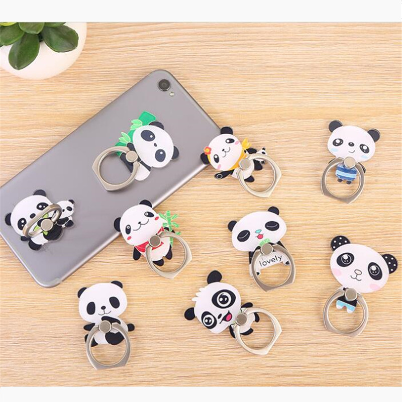 UVR Panda Bear Cute Animal Mobile Phone Stand Holder Finger Ring Smartphone Cartoon Holder Stand For Xiaomi Huawei All Phone