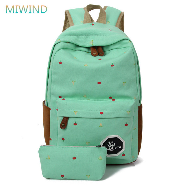 MIWIND 2016 Newest Canvas Backpack Female Flowes Printing Backpack Preppy Style School Bags For Teenagers Mochila Militar CB185