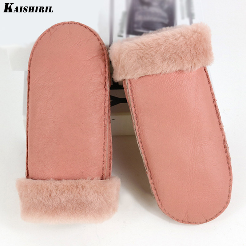 2017 Fashion winter gloves women warm fur wool genuine leather gloves mittens 8 colors high quality