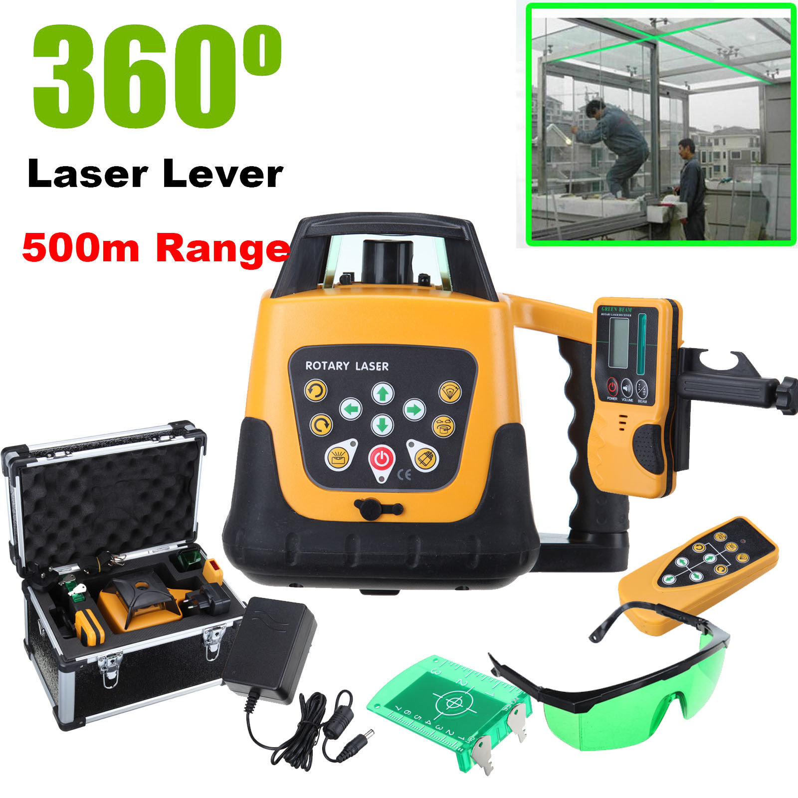 Self-leveling Rotary/ Rotating Green Laser Level Kit With Case 500M RangeSelf-leveling Rotary/ Rotating Green Laser Level Kit With Case 500M Range