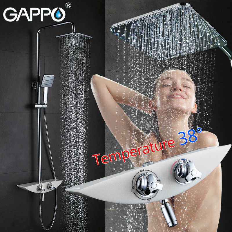 GAPPO bathroom shower faucet thermostat mixer tap waterfall wall mount thermostatic mixer shower faucets bathroom taps traditional faucet chrome thermostatic bathroom faucets plastic handshower dual holes shower mixer tap