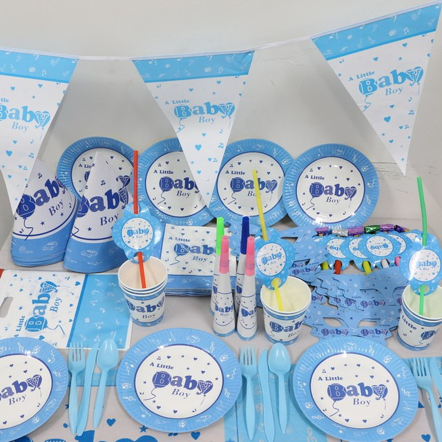 1pack 78pcs Freeshipping Wholesale Baby Boy 1st Birthday Party Decorations Kids Decoration Supplies For 12 People Use