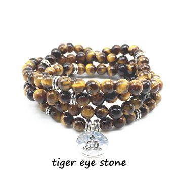 860323288ed1 Beadztalk alta calidad naturales Tigre Ojo de piedra pulsera de cuentas  Mala y Yoga para mujeres o Wen joyería caliente