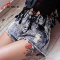 Punk Denim Shorts de Cintura Alta Mujeres Blusa Entallada Estilo Rock Europeo Shorts Jeans Con Agujeros Sexy Mujer Más Tamaño