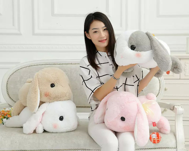 50cm Rabbit Plush Toy Classical Lying Bunny Doll Big Head Amuse Lolita Loppy rabbit Kawaii Plush Pillow Gift For Kids Girls kawai syrup lint rabbit bag lolita silk bowknot soft plush toy model doll single shoulder span portable pearl chain package