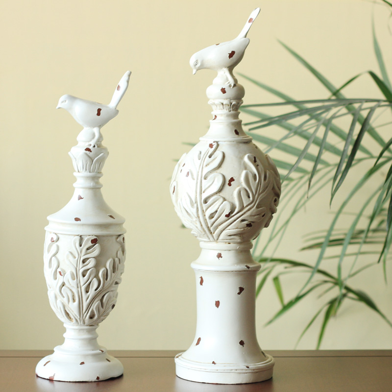 American country Home Furnishing resin decoration living room furnishings decorations White Retro Old 2 bird ornaments
