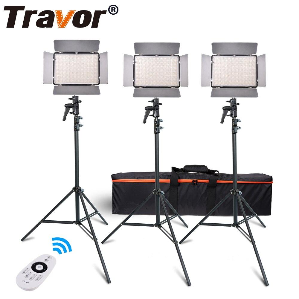 Travor TL-600A 2.4G Kit Bi-Color Led Luz de Vídeo 3200 K ~ 5500 K para a fotografia de Tiro + três Luz + 6 pcs Bateria + 3 luz Em Pé