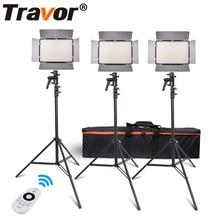 Travor TL-600A 2.4g Kit Bi-Couleur Led Vidéo Lumière 3200 k ~ 5500 k pour photographie Tir + trois Lumière + 6 pcs Batterie + 3 Light Permanent