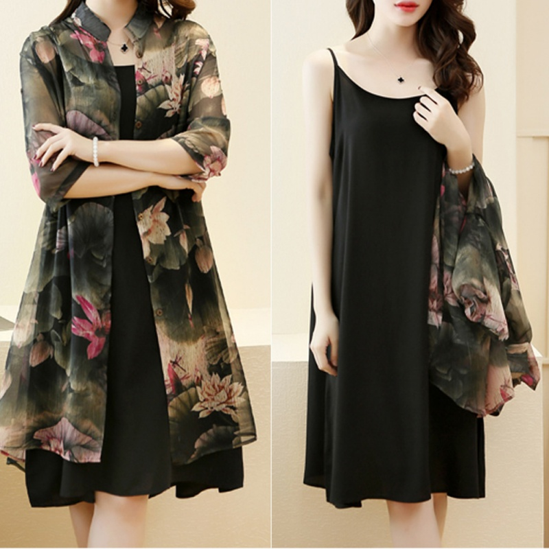Fashion Women Clothing Sets Women Knee-Length Dress + Print Chiffon Covers Up Suits