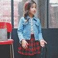 Весна Осень Корейской Моды детская Одежда Изношенные Девушки Джинсовой Куртки Подросток Пальто Дети Верхняя Одежда для Детей Топы Одежда