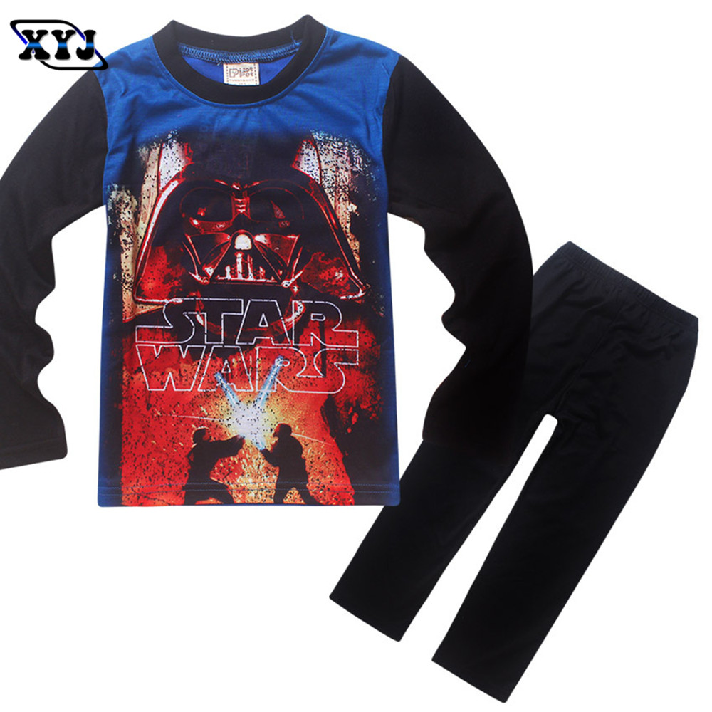 2016 two piece set star wars costume pajamas for boys for Personalized t shirts for kids cheap