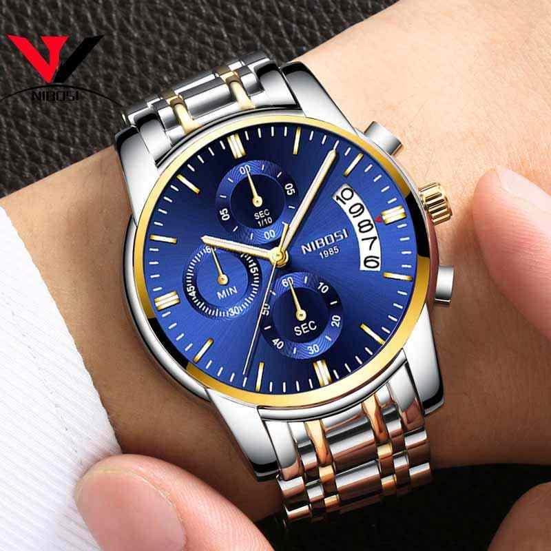 Relogio Masculino NIBOSI мужские s часы лучший бренд роскошное платье известный бренд часы мужские водонепроницаемые Календарь/светящиеся часы золотые мужские
