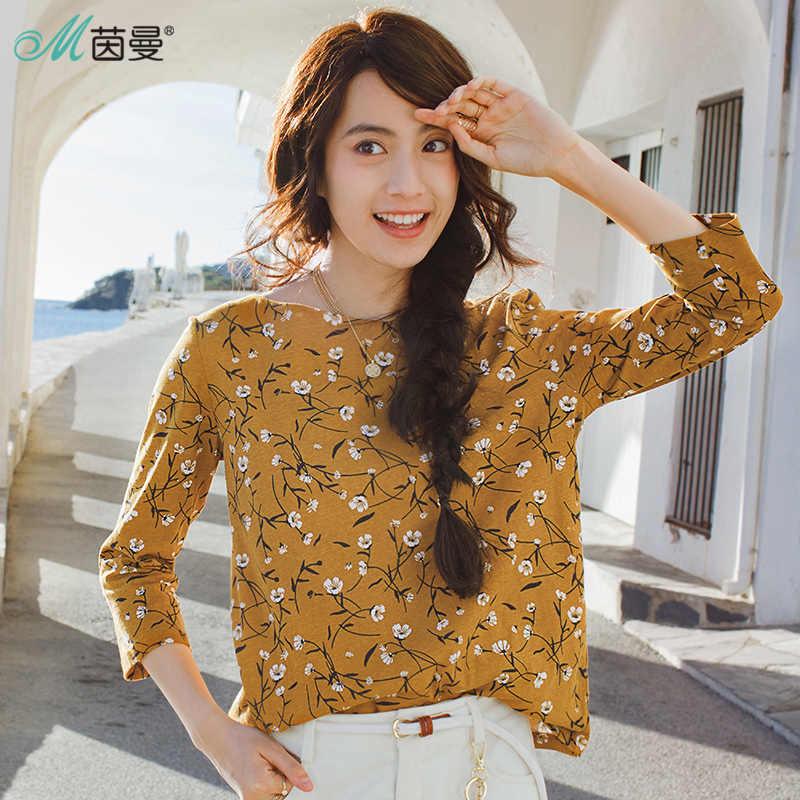 INMAN nieuwe producten vrouwen Katoen een Woord kraag Losse t-shirt vrouwen Afdrukken