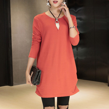 New autumn winter 2018 Fashion Women long sleeve Loose casual pullovers sweater casual tops cotton and wool tunic orange
