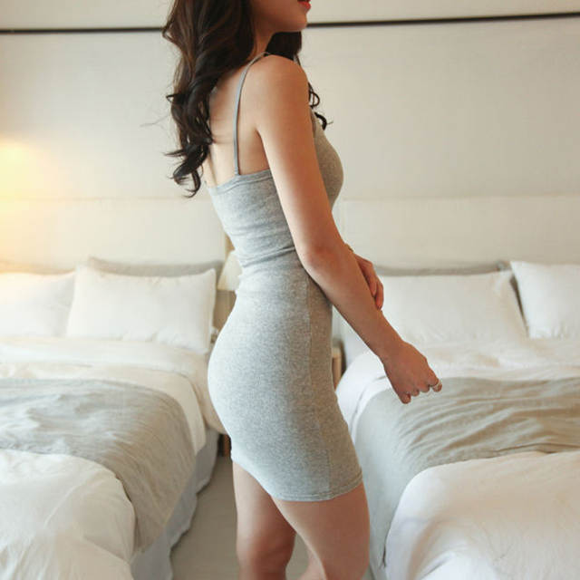 2c08913db6fea US $4.26 11% OFF|Casual Dresses sleeveless 2018 summer womens tank dress  cotton sexy tight fitting suspender plus size women dress Cotton bodycon-in  ...