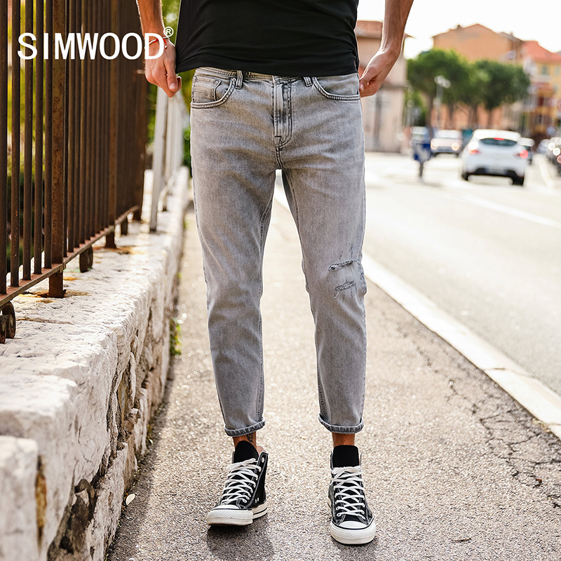 SIMWOOD 2018 Autumn Summer New Hole Fashion Jeans Men Ankle-Length Ripped Denim Trousers Slim Fit High Quality 180131 qmgood men s jeans europe and the united states summer new men hole paste cloth men s jeans personalized fashion denim trousers