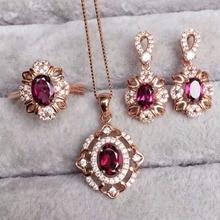 [MeiBaPJ dobra jakość naturalny czerwony granat kamień modny komplet biżuterii damskiej prawdziwe 925 srebro urok biżuterii