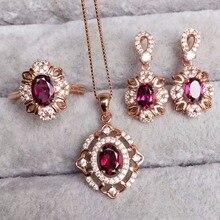 [MeiBaPJ kaliteli doğal kırmızı granat taş moda takı seti kadınlar için gerçek 925 ayar gümüş Charm güzel takı