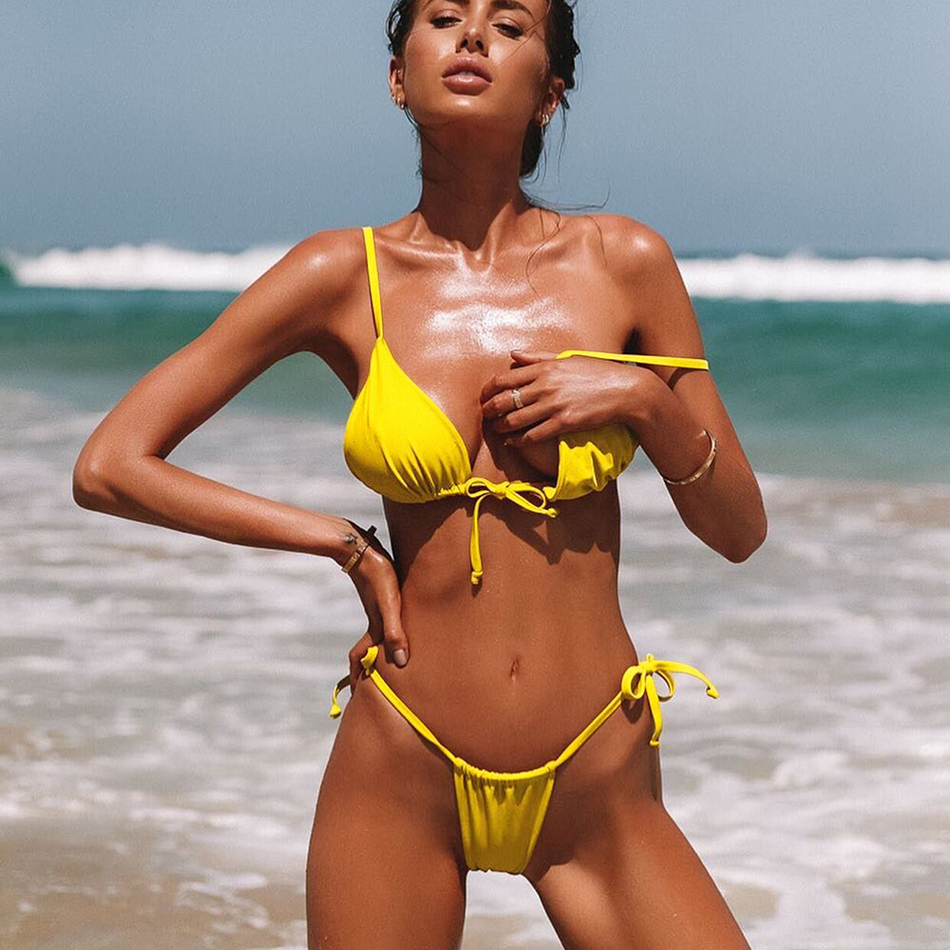 Sexy Micro Bikinis 2018 Swimwear Women Swimsuit Female Beach Wear Brazilian Thong String Bikini Set Swimming for Bathing Suit michael kors коричневые босоножки на танкетке page 4