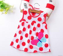 Kwiat drukowane niemowląt dziewcząt księżniczka sukienki Baby Girls-line Lovely bez rękawów Letnia sukienka dzieci dziewczyny miękkie bawełniane ubrania tanie tanio Dziecko Trapezowa Powyżej kolana mini Cap Sleeve 1102 Bawełna HYBOLY Haft O-Neck Ładna Pasuje do rozmiaru Weź swój normalny rozmiar