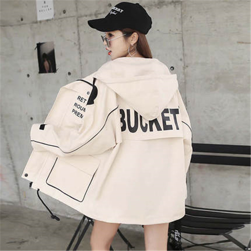 2019 Women Letter Printed Bomber Windbreaker Big Pocket Hooded Outerwear Spring Autumn Large Size Loose Casual   Trench   Coat X838